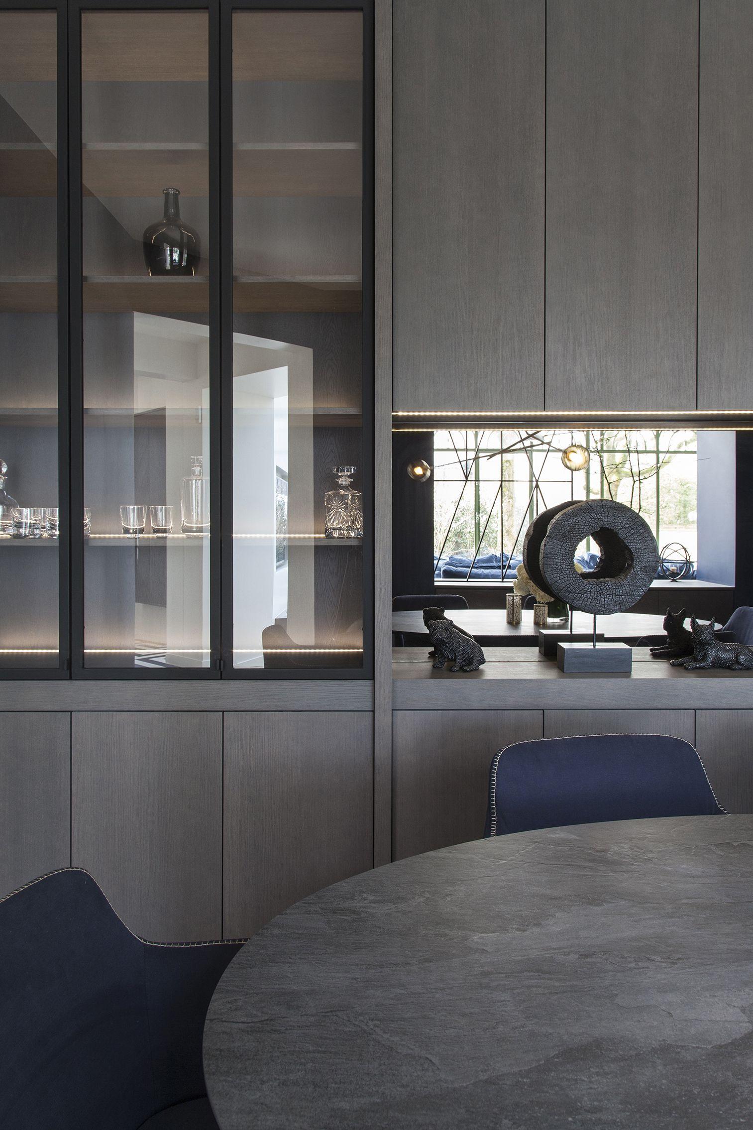 salle à manger, table, fauteuil, verrière, claustra, miroir ...