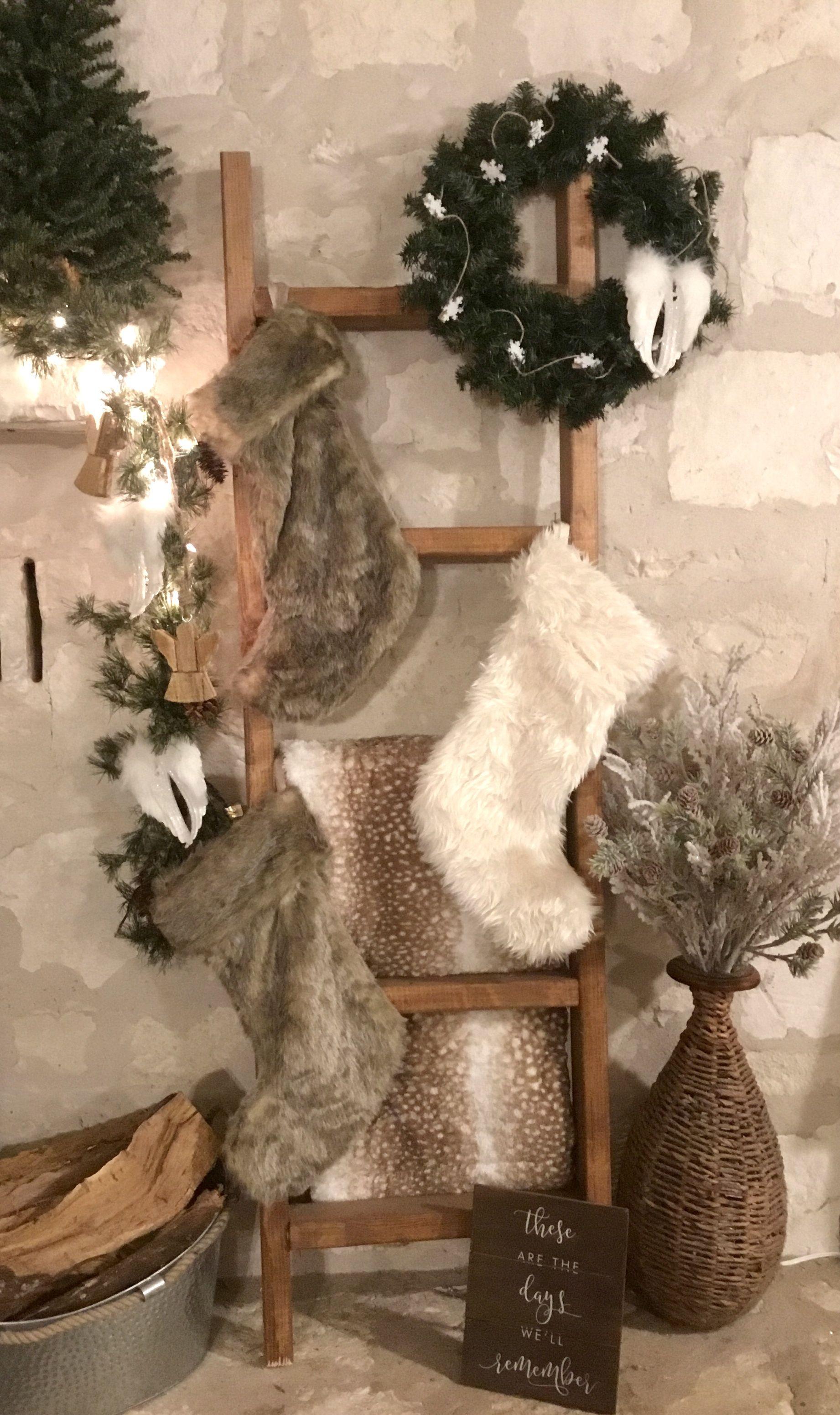Christmas Ladder White Farmhouse Stockings Wreath