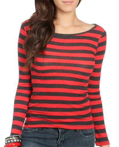Long Sleeve Striped Top from WetSeal.com