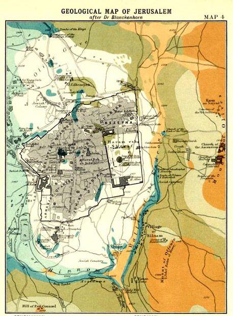 Geological Map of Jerusalem 1907. Engraved by Bartholomew. | World ...