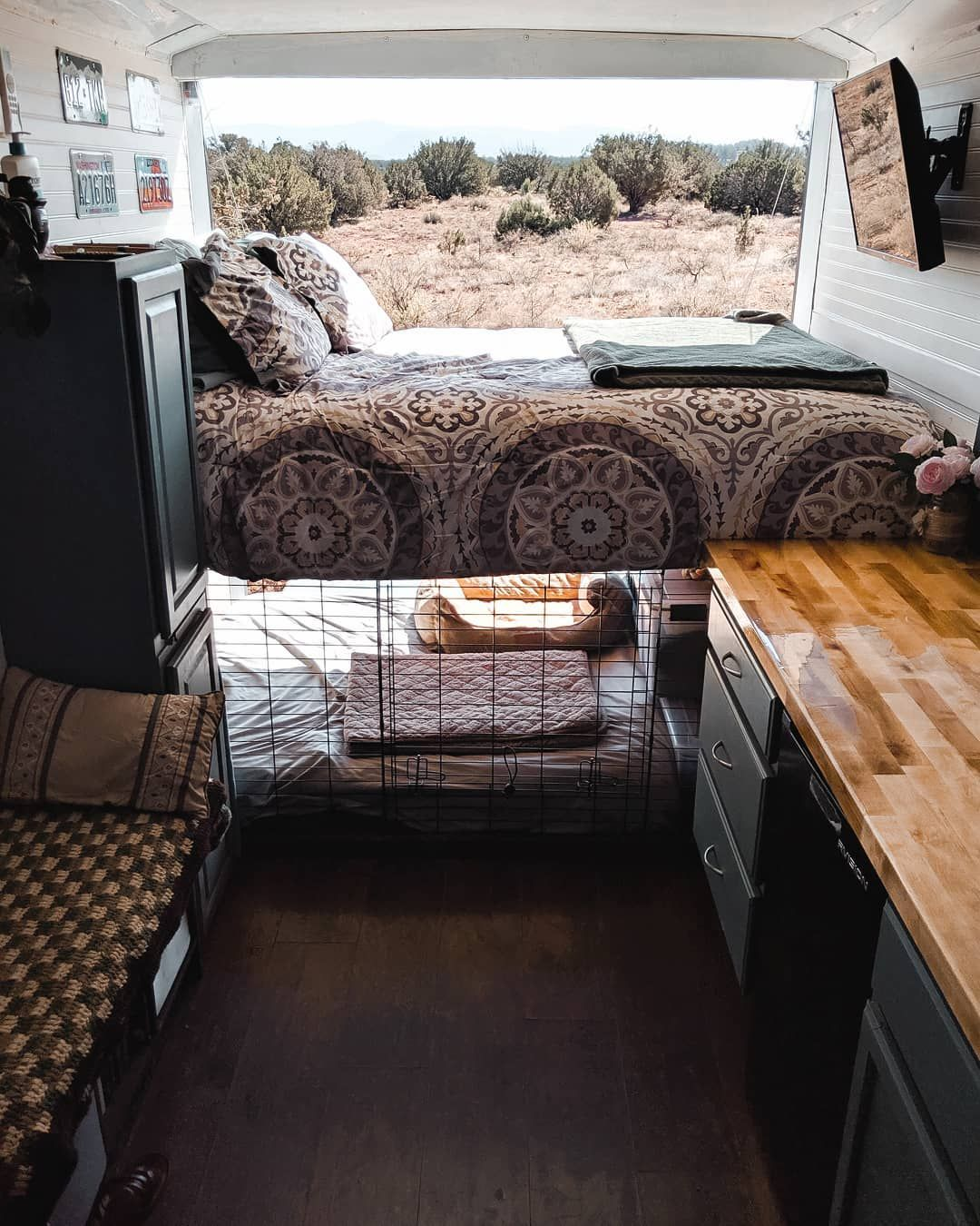 "Full Time RV Living on Instagram: ""One month of downsizing my stuff, my wardrobe and living in our tiny home, inside of a 112 sq ft converted cargo trailer. I'm learning to…"" #tinylivingideas"