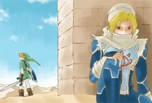 The Legend of Zelda - Link and Sheik at the desert colossus (OOT)