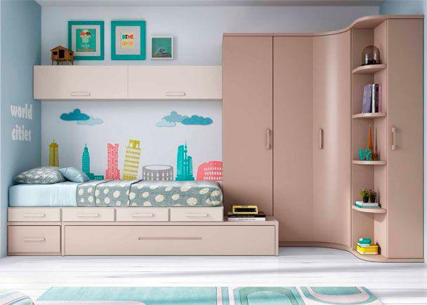 Habitaci n juvenil linea modular con 2 camas novedades - Decoracion habitacion individual ...