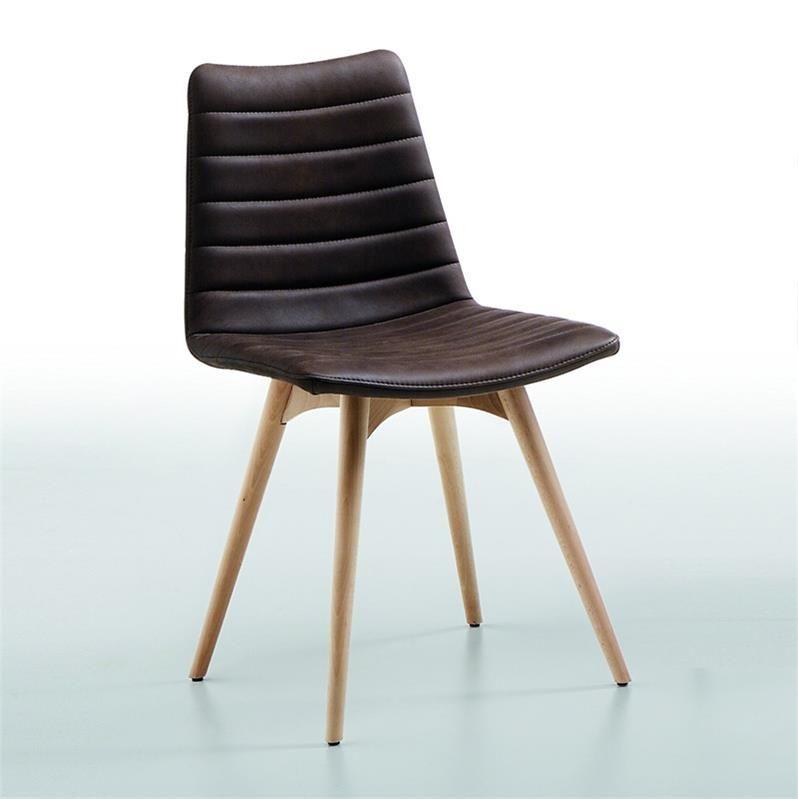 chaise scandinave simili cuir marron calco httpwwwcoupdecoeur design - Chaise Scandinave Cuir