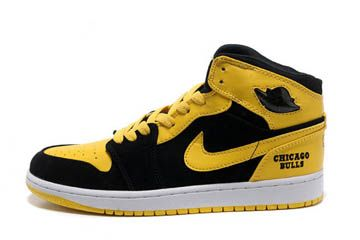 air jordan 1 black and yellow color high leather shoes chicago bulls bmp