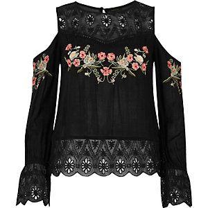 5558e68385d5de Black embroidered cold shoulder top