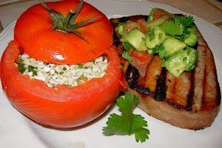 Grilled Tuna Steak with Spicy Cauliflower Stuffed Tomatoes