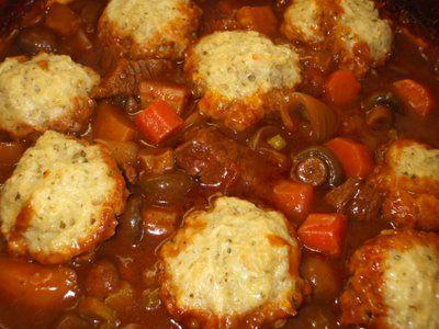 Beef Stew & Cheesy Dumplings