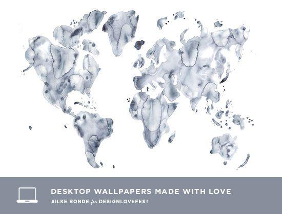 silke bonde desktop downloads designlovefest Wallpaper - new world time map screensaver free download