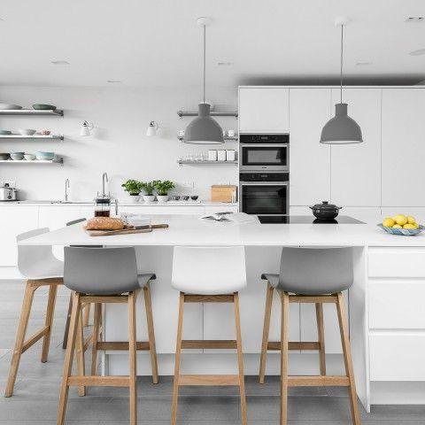 Drift Oak Light Grey Bar Stool With Images Kitchen Bar