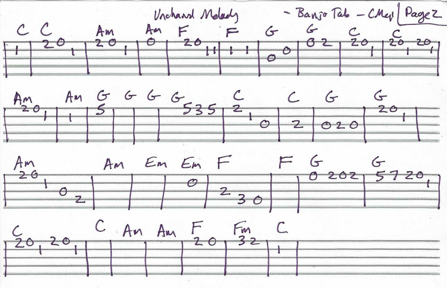 Unchained Melody Banjo Melody Tab In C Major Page 2 Of 2