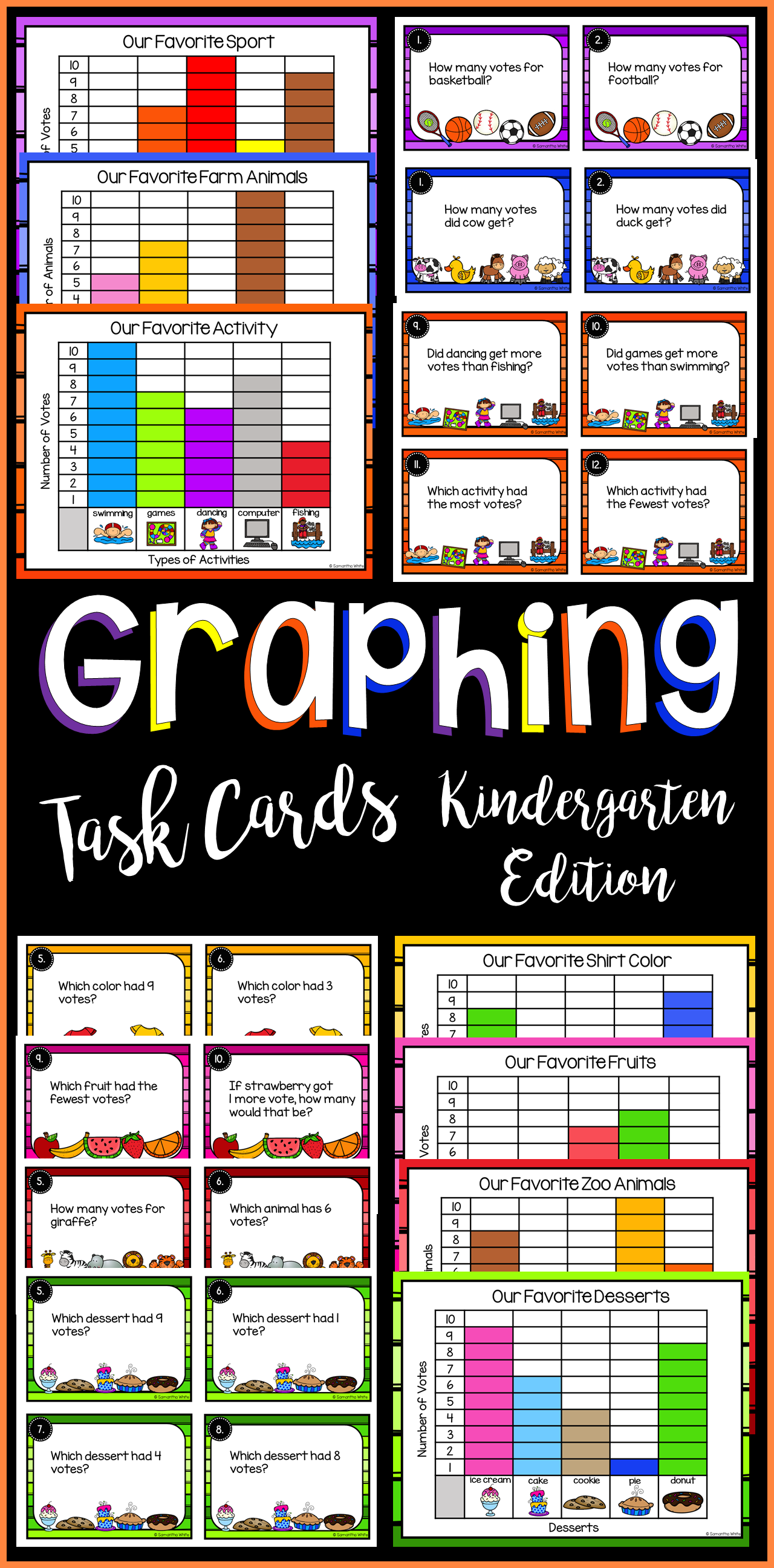 Graphing Task Cards Kindergarten Edition