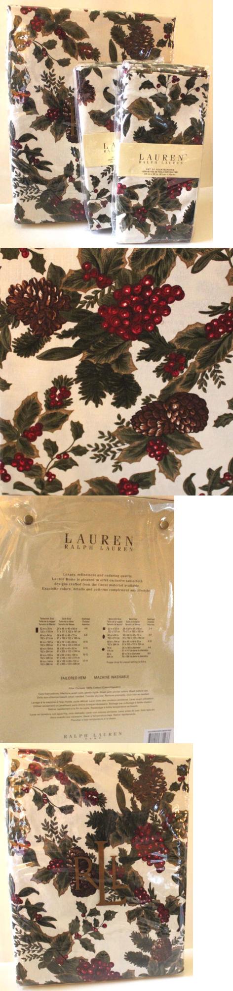 Nice Ralph Lauren Table Linens Part - 9: Table Linen Sets 71238: Ralph Lauren Tablecloth Napkin Set Birchmont Red  Holly Pinecone 9Pc 60X104