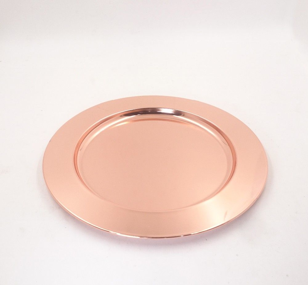 Cheap Wholesale Wedding Rose Gold Stainless Steel Charger Plates