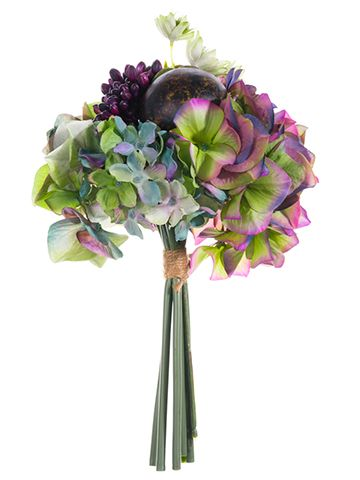 Hydrangea and Sedum Faux Bouquet in Eggplant Green  Check out hassle-free silk wedding bouquets like this gorgeous, faux bouquet of eggplant purple green hydrangeas and sedum. Blues and pinks add to the beautiful array of colors displayed in this charming bouquet. Finish with ribbon for a complete look!  #afloral