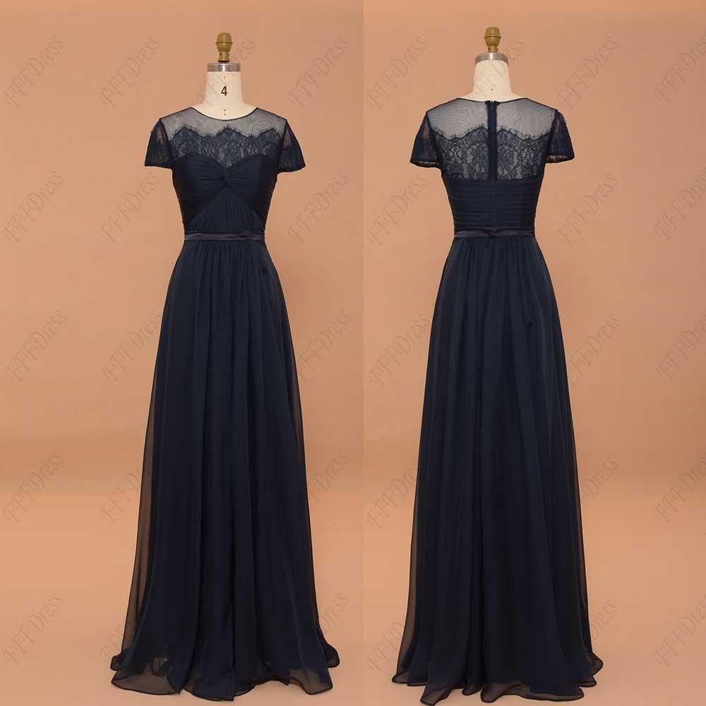 Navy blue modest bridesmaid dresses with sleeves prom dresses plus