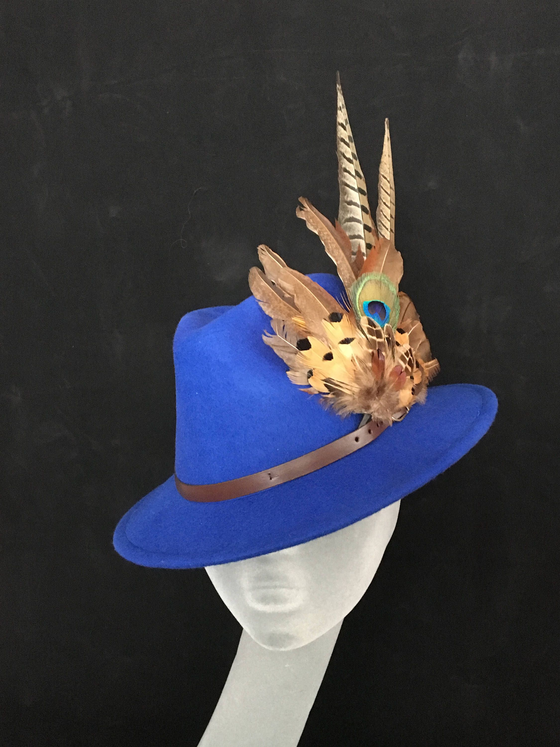 04d90984196bd ARABELLA Ladies Blue Wool Felt Trilby with Pheasant Feather Trim - Perfect  for Cheltenham Races