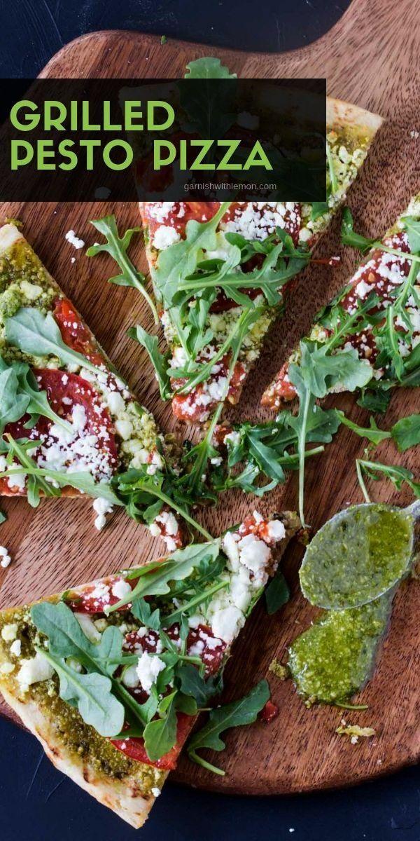 Pesto Pizza recipe with Goat Cheese, Tomatoes & Arugula - Garnish with Lemon -Grilled Pesto Pizza r