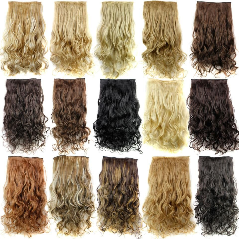 """False Capelli 24 """"lungo Applicare Clip di Capelli sulla HairPieces Mega Estensioni Dei Capelli Ricci Estensioni Sintetiche Clip Parrucchino Testa Completa"""