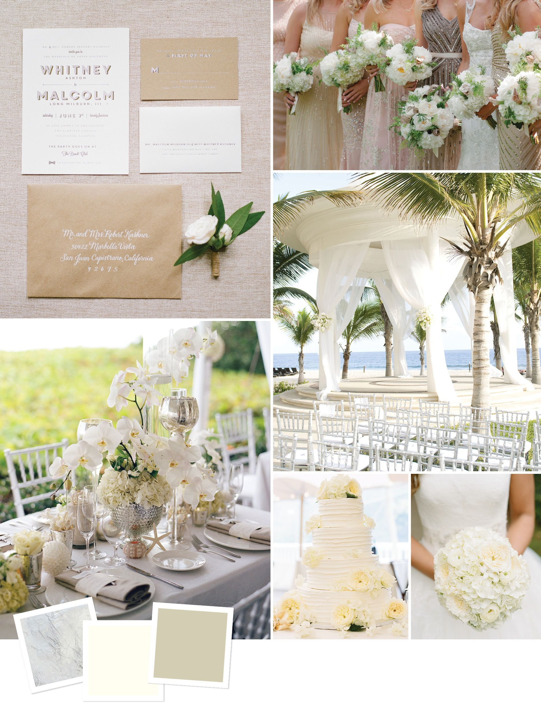 Elegant white monochrome beach wedding theme | Wedding inspiration ...