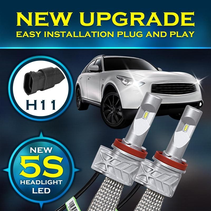 Ironwalls H11 LED Single Beam 50W 8000lm Car Headlight Bulbs With Driver  Cree Chips CSP LED