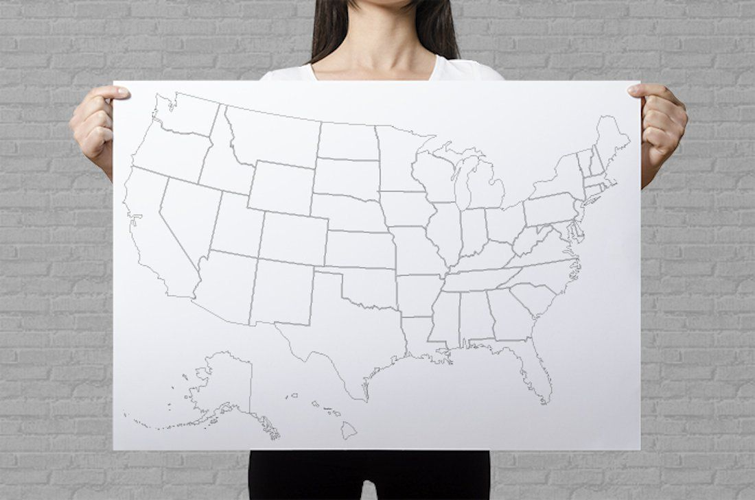 United States Coloring Poster Giant Coloring Page Plain - Map of the us poster size