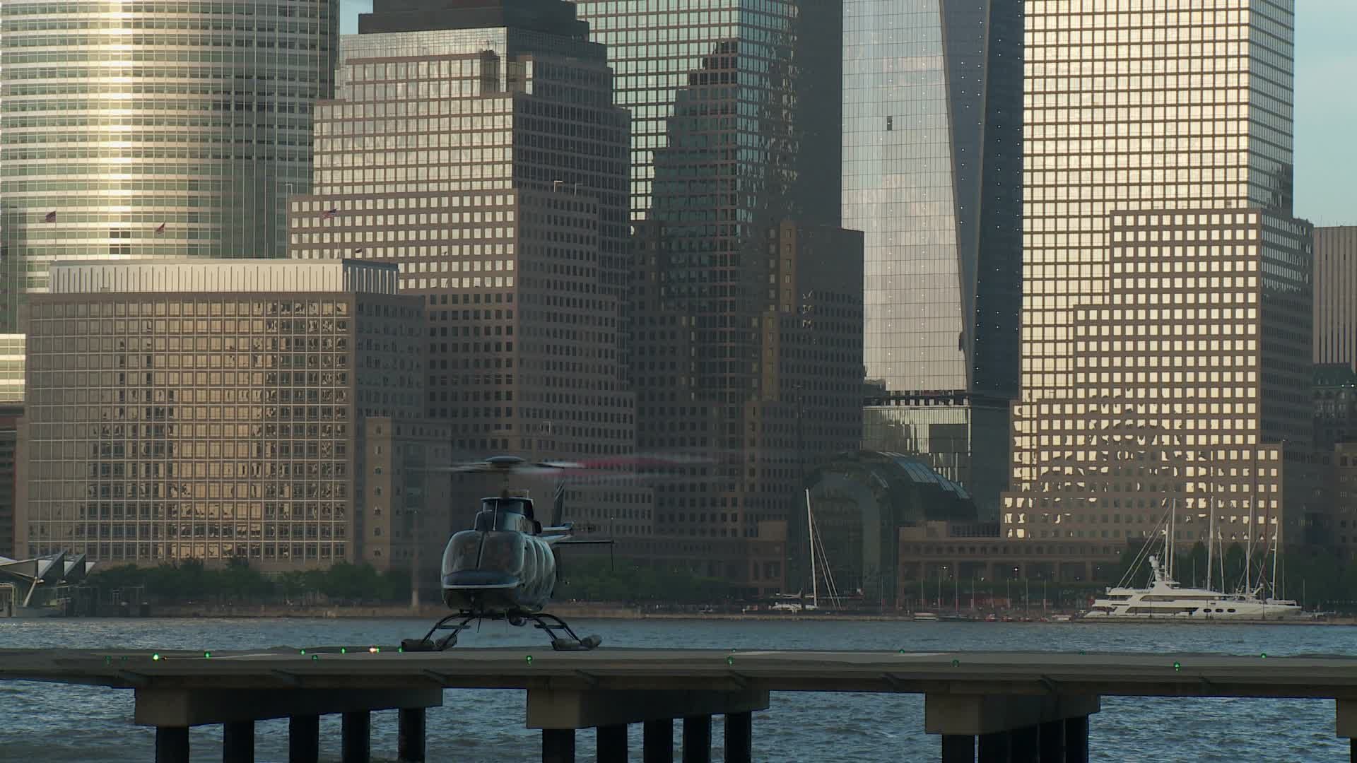 Paulus Hook Pier Heliport 8 Stock Footage By Cholmesphoto Jersey City June 23 A Helicopter Takes Off At The Paulus Hook Stock Video Stock Footage Pier