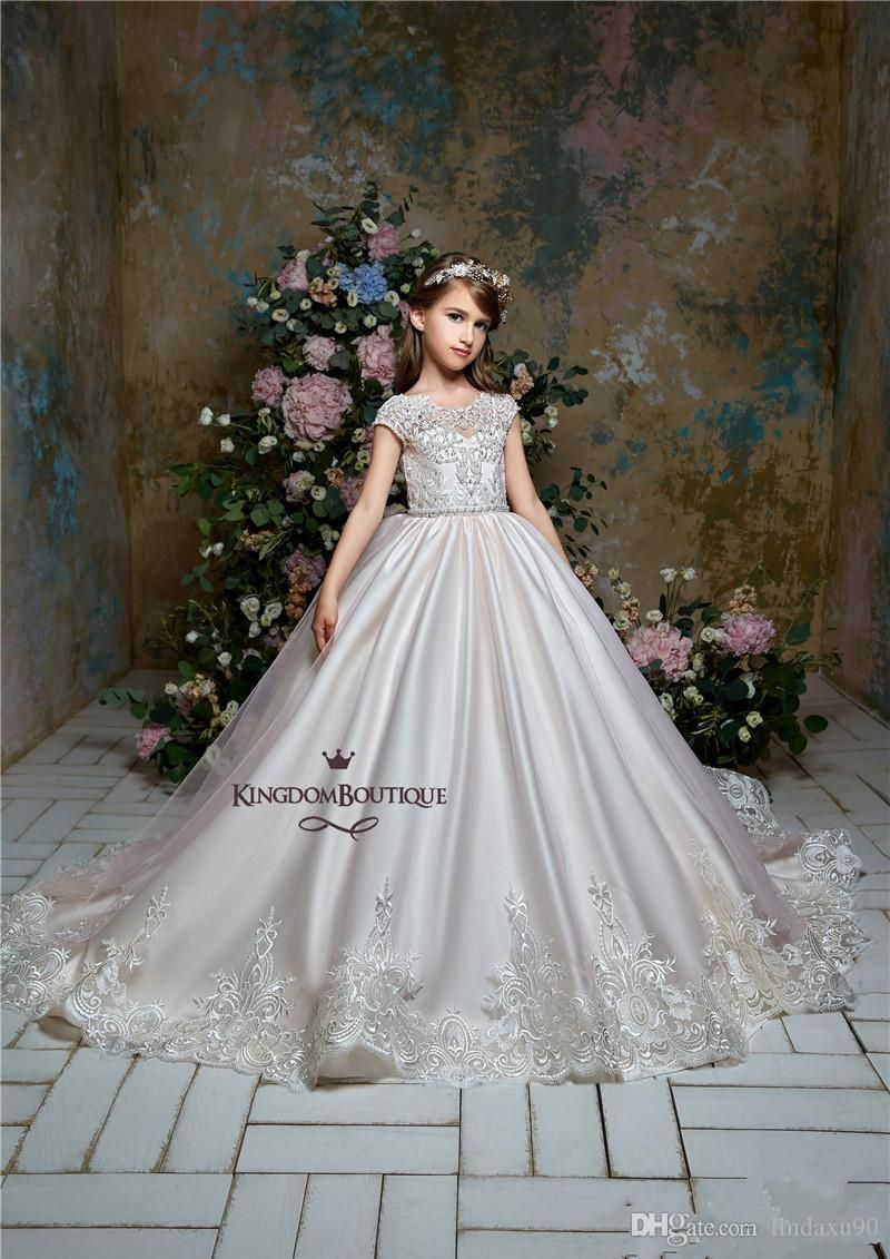 Elegant Flower Girl Dress Pageant Birthday Party Dresses Princess Formal Gowns