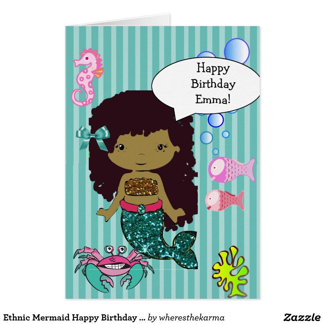 Ethnic Mermaid Happy Birthday Card