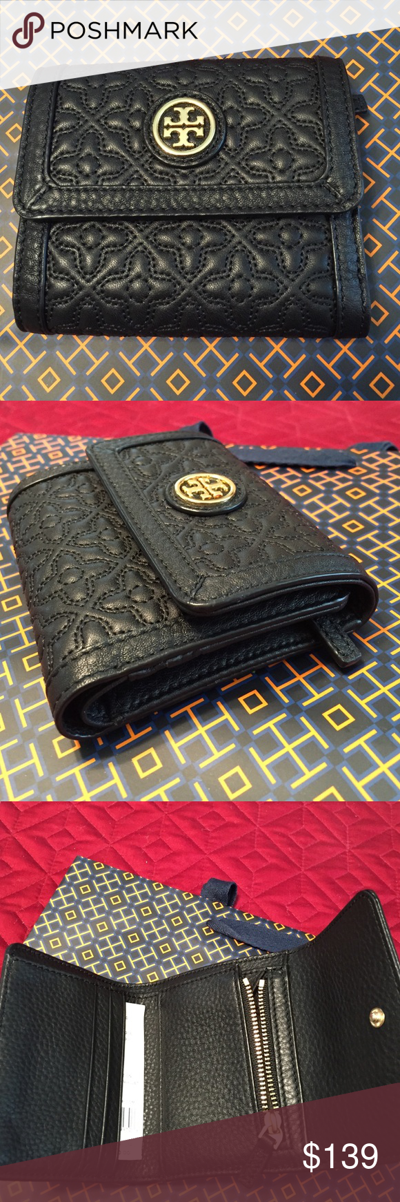 "🆕Tory Burch BLACK Leather Bryant mini wallet. NWT Perfect when just a little wallet will do... Nice size to use in the mini bags but with plenty of compartments. Inside has 3 card slots, 1 zipper coin slot and side bill slot with signature logo jacquard lining. Gold front Double-T emblem with strong snap closure. New, never used, with tag. Approximate Measurements: 4.5"" L x 4.5"" H x 1"" D. Tory Burch Bags Wallets"