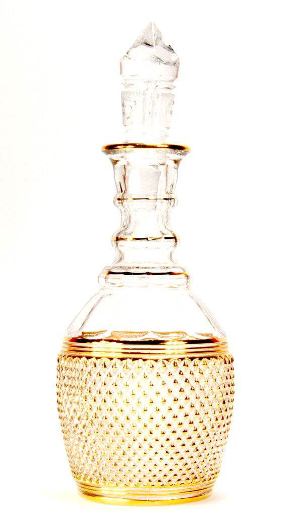 glass and gold decanter