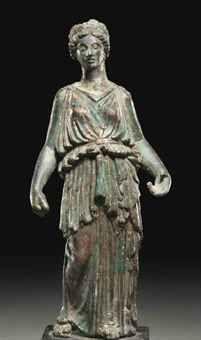 A ROMAN BRONZE FORTUNA  CIRCA 1ST CENTURY A.D.