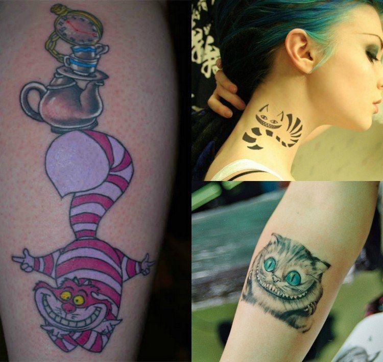 Cheshire Cat Tattoo Motive von Alice im Wunderland