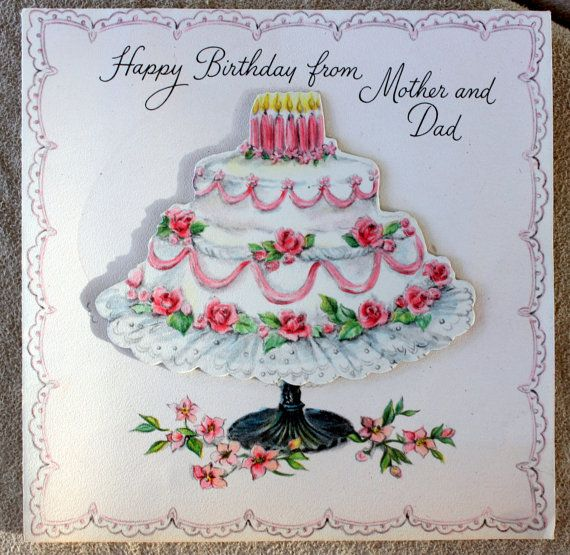 Birthday Cake Card 1950s from Mother and Dad by PhotoTreasureChest, $4.00