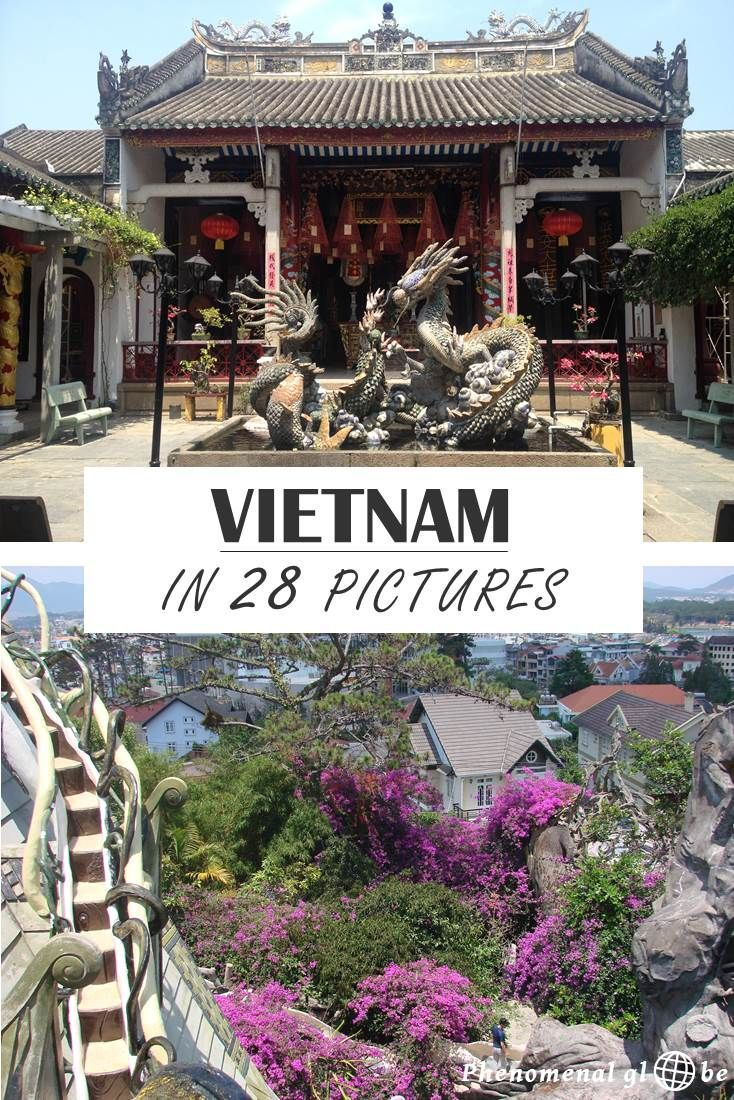 Visiting Vietnam in 28 pictures, including Hanoi, Halong Bay, Tam Coc, Hue, Hoi An, Dalat, Ho Chi Minh city and Phu Quoc. Vietnam with it's many street stalls, pagodas, temples, scooters and scents truly feels like Asia!