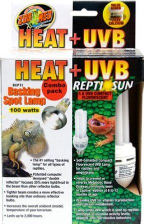 Amazon.com: Zoo Med Heat and UVB Basking Spot Lamp and Reptile Sun Fluorescent Combo Pack- Best brand for bulbs