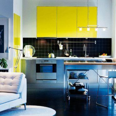 Cuisine Rubbrik Applad Jaune Ikea Cuisine Pinterest Ikea - Meuble cuisine jaune ikea pour idees de deco de cuisine