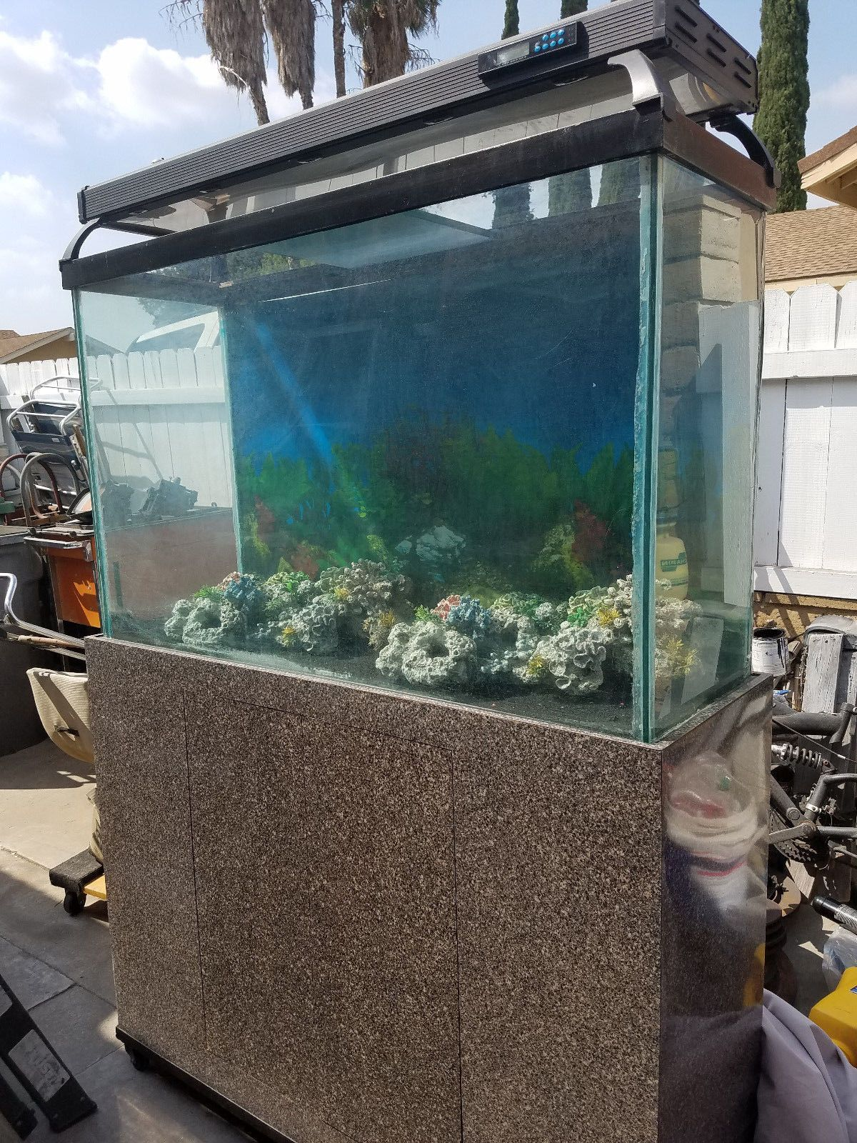 3 VINTAGE STANLESS STEEL AQUARIUM HOODS WITH LIGHT FOR 29 GALLON
