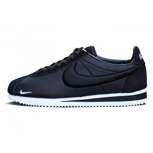 Hombre/Mujer Nike Classic Cortez Nylon Zapatillas Negras/Blancas
