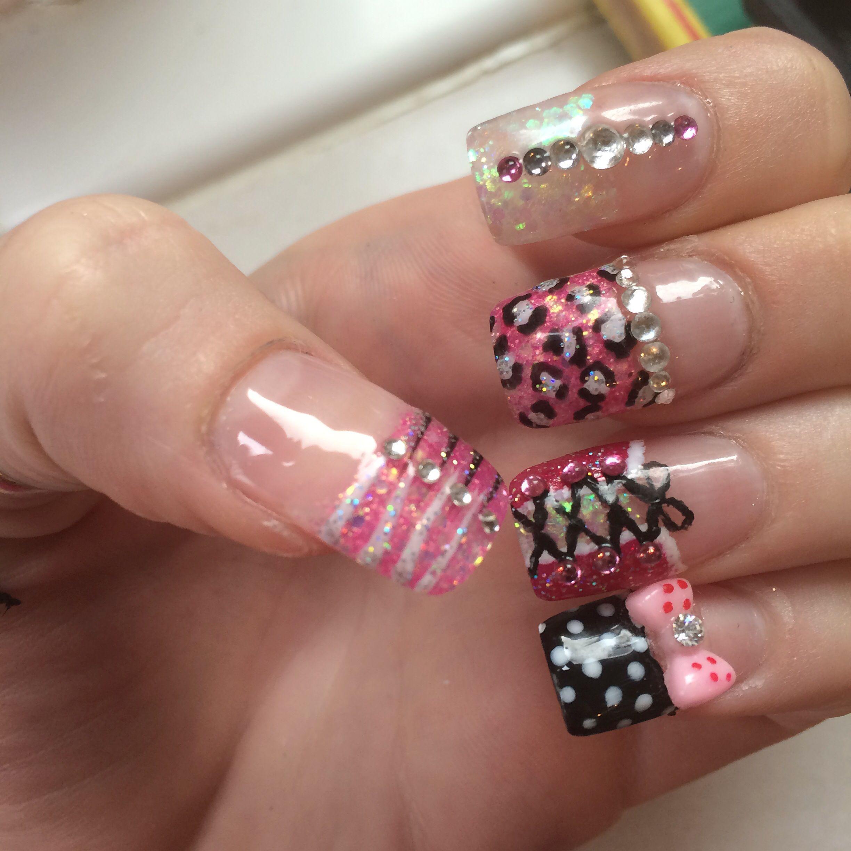 Pink zebra nails nails pinterest - Pink Black White Glitter Diamonds Leopard Print Zebra Animal Print Dots Bow Nails Nail Art Acrylic