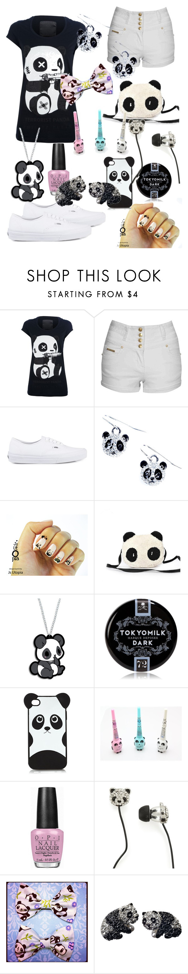 """""""Killer Sparkly Panda ;)"""" by onemiracleatatime ❤ liked on Polyvore featuring Philipp Plein, Jane Norman, Vans, TokyoMilk, Panda, OPI, P.S. from Aéropostale and Andrew Hamilton Crawford"""
