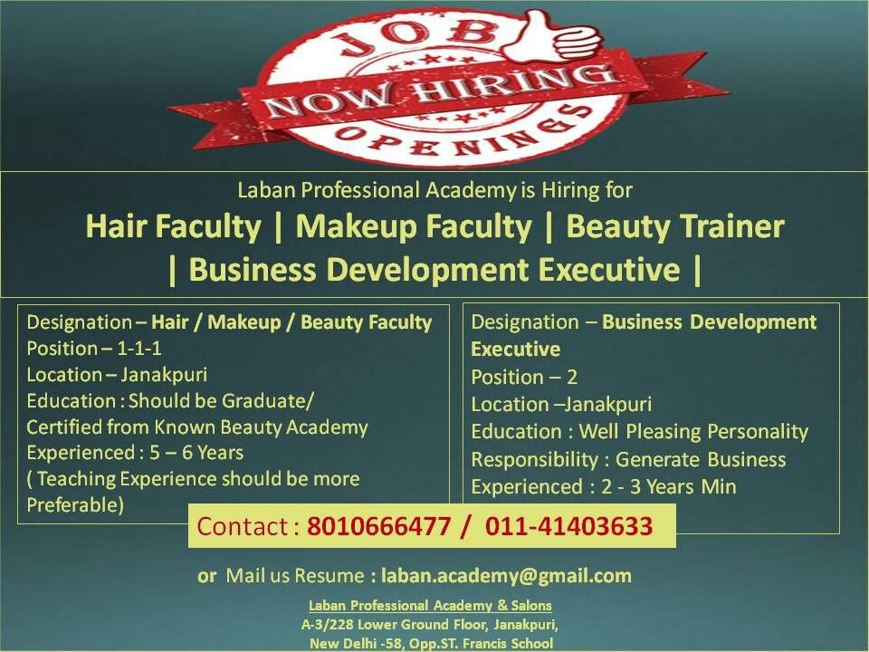 Laban Professional Academy is Hiring for Hair Faculty
