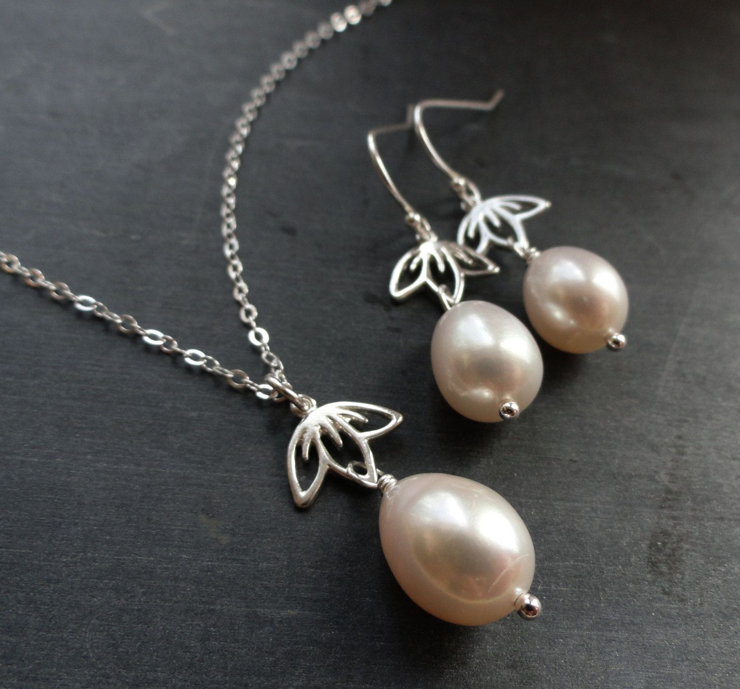 BRIDESMAID GIFT, THREE Sets Pearl necklaces and earrings ...
