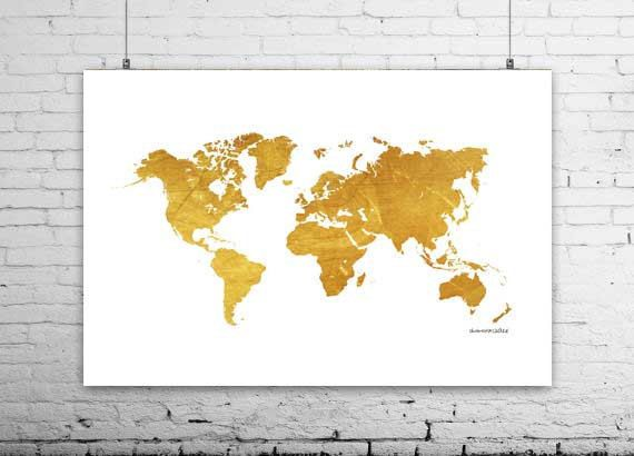 Gold world map 48 x 36 map world map print printable map gold world map 48 x 36 map world map print printable sciox Gallery
