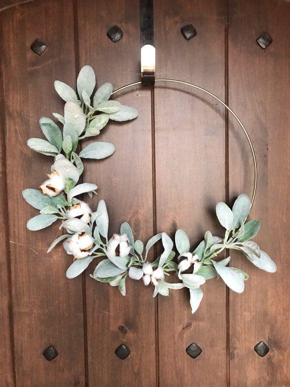 Photo of Cotton Wreath, Cotton Hoop Wreath, Farmhouse Wreath, Farmhouse Decor, Modern Farmhouse Wreath, Spring Wreath, Lambs Ear Wreath, Modern