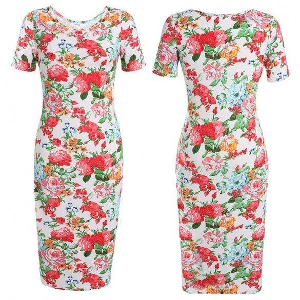 New Lady Womens Fashion Vintage Style Short Sleeve O-Neck Sexy Bodycon Print Slim Dress
