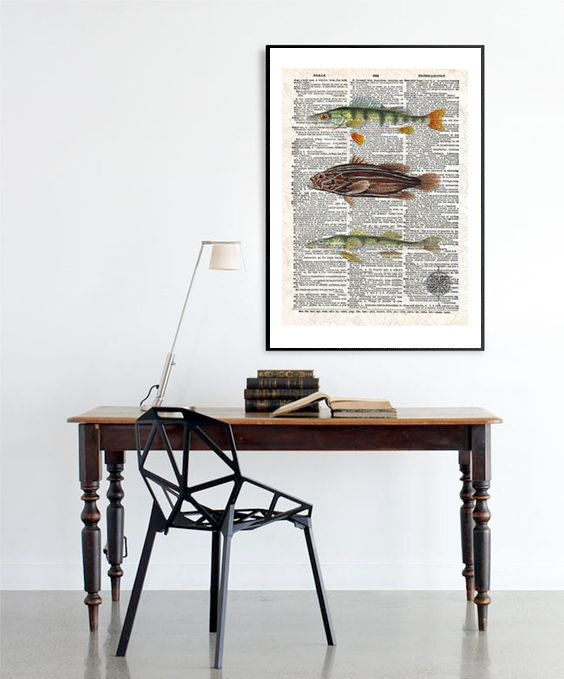 Vintage Fish Neo retro Dictionary paper animals por SoulArtCorner
