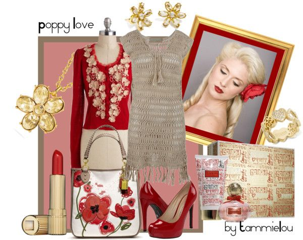 """""""poppy love"""" by tammielou1958 ❤ liked on Polyvore"""