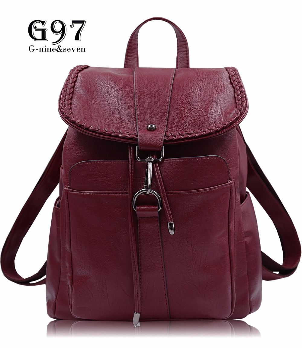 fda3a93ac26 2017 NEW Fashion Designed Brand Backpack Women Backpack PU Red Leather  School Bag Women Casual Style Backpacks