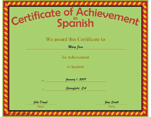 A certificate of achievement in spanish bordered in yellow on red a certificate of achievement in spanish bordered in yellow on red diamonds with voltagebd Gallery
